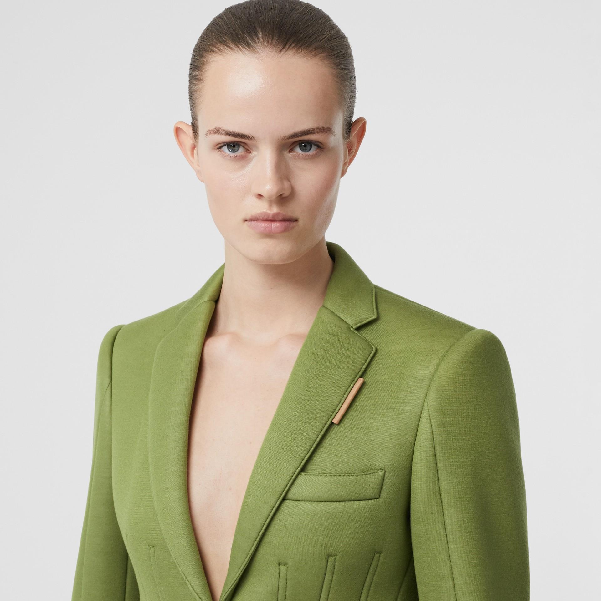 Double-faced Neoprene Tailored Jacket in Cedar Green - Women | Burberry - gallery image 1
