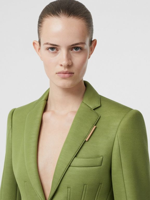 Double-faced Neoprene Tailored Jacket in Cedar Green - Women | Burberry - cell image 1