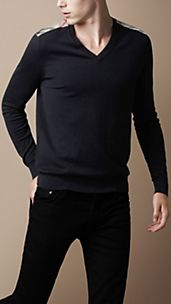 Check Shoulder V-Neck Sweater