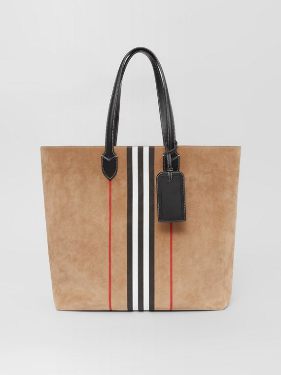 Large Icon Stripe Suede Tote in Archive Beige