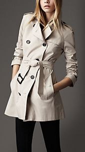 Short Technical Cotton Trench Coat