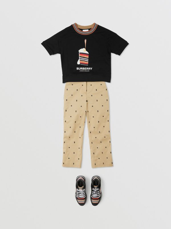 Cake Print Cotton T-shirt in Black | Burberry - cell image 2
