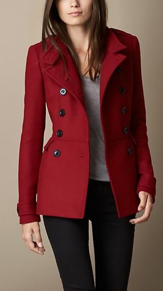 Wool Blend Twill Peplum Twill Coat