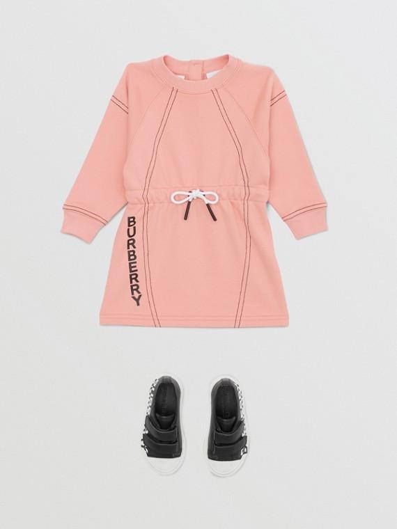 Vestido estilo suéter de algodão com estampa de logotipo (Pêssego)
