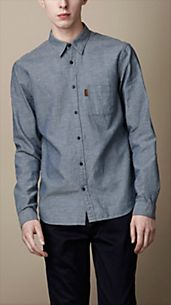 Camicia chambray in cotone e lino