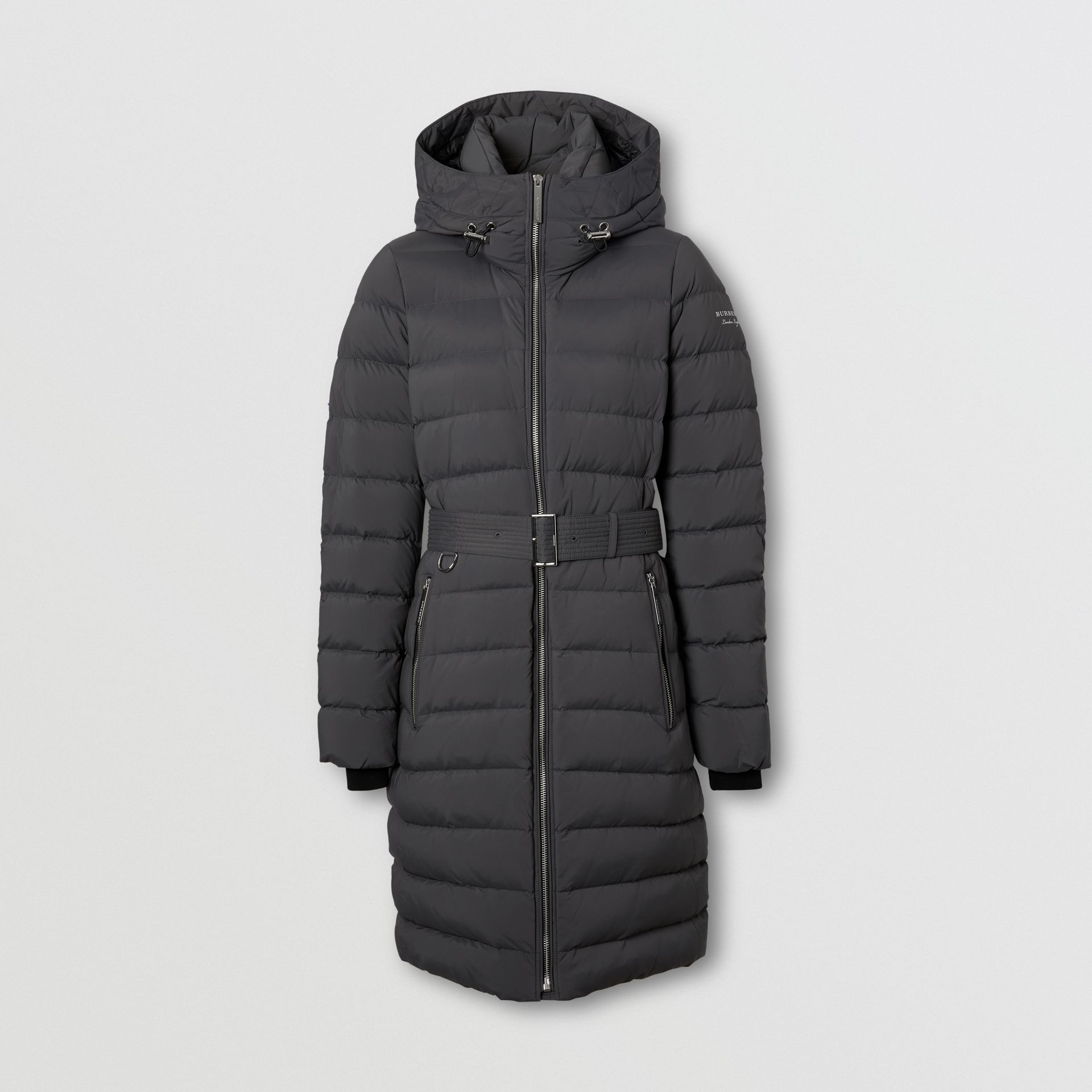 Logo Print Hooded Puffer Coat in Mid Grey - Women | Burberry - gallery image 0