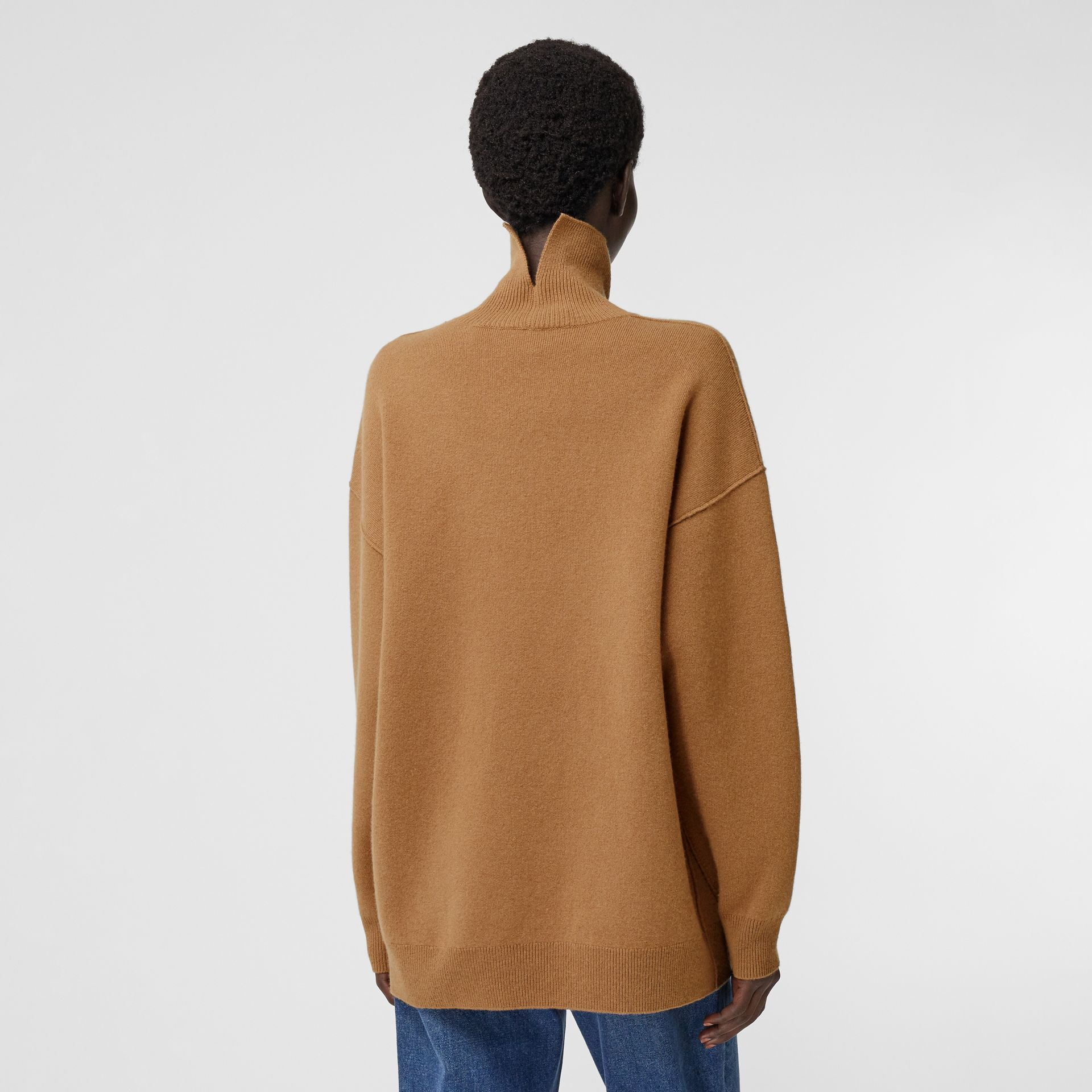 Monogram Motif Cashmere Blend Funnel Neck Sweater in Camel - Women | Burberry - gallery image 1