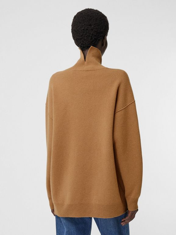 Monogram Motif Cashmere Blend Funnel Neck Sweater in Camel - Women | Burberry - cell image 1