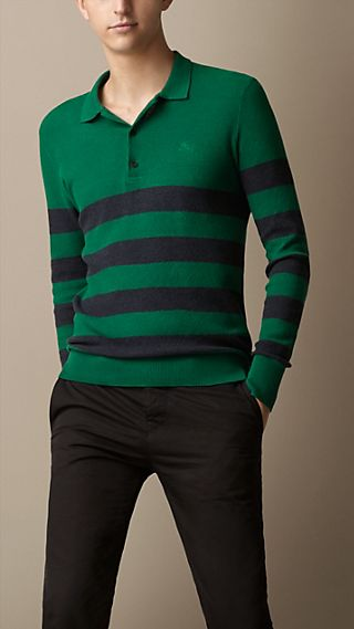 Knitted Cotton Striped Polo Shirt