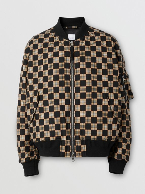 Chequer Cotton Bomber Jacket
