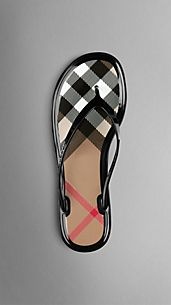 Chanclas con detalle de checks