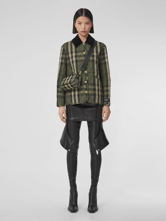 Diamond Quilted Check Wool Blend Jacket in Military Green