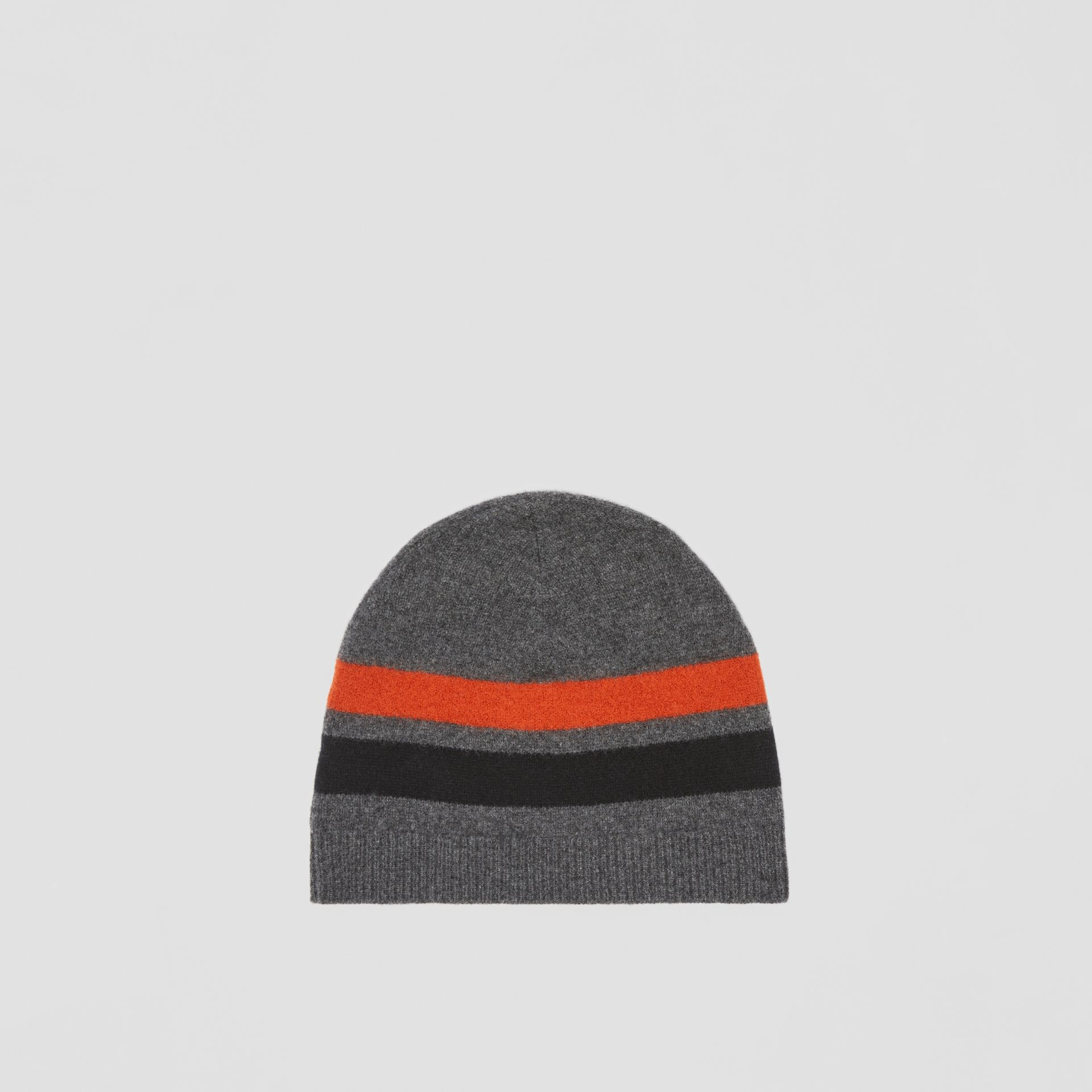 Monogram Motif Merino Wool Cashmere Beanie in Dark Grey | Burberry Hong Kong S.A.R. - gallery image 4