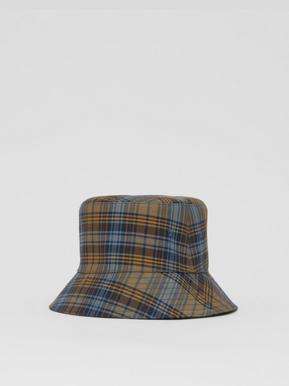 Tartan Technical Cotton Bucket Hat in Pale Powder Green