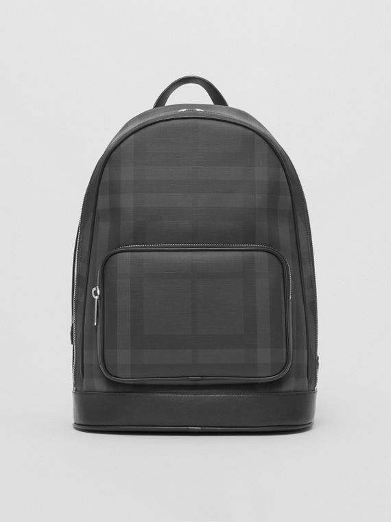 London Check and Leather Backpack in Dark Charcoal