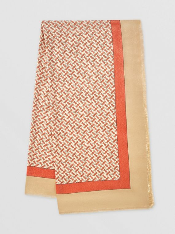 Metallic Monogram Print Cashmere Silk Scarf in Vermillion