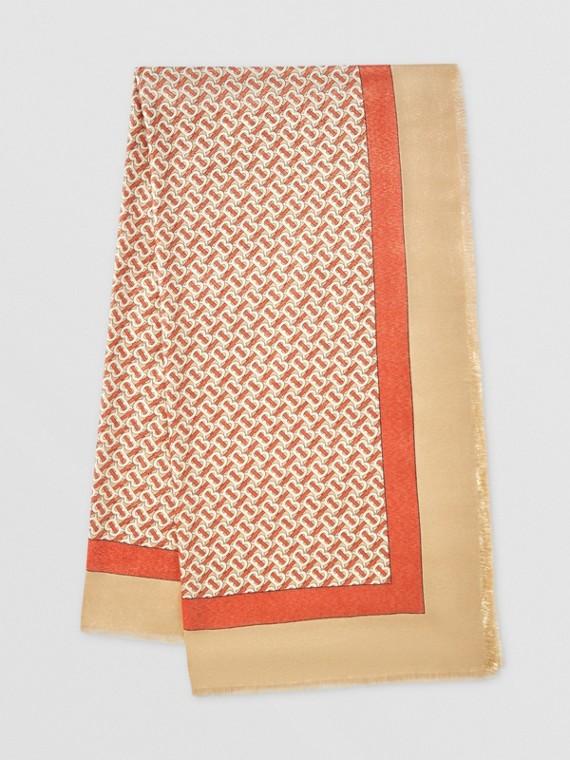 金屬感花押字印花喀什米爾絲綢圍巾 (朱紅)