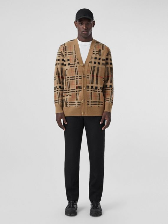 Check Cashmere Jacquard Cardigan in Archive Beige