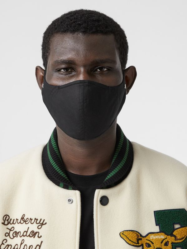Logo Detail Cotton Face Mask in Black | Burberry - cell image 3