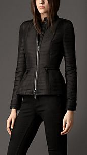 Peplum Detail Ribbed Quilt Jacket