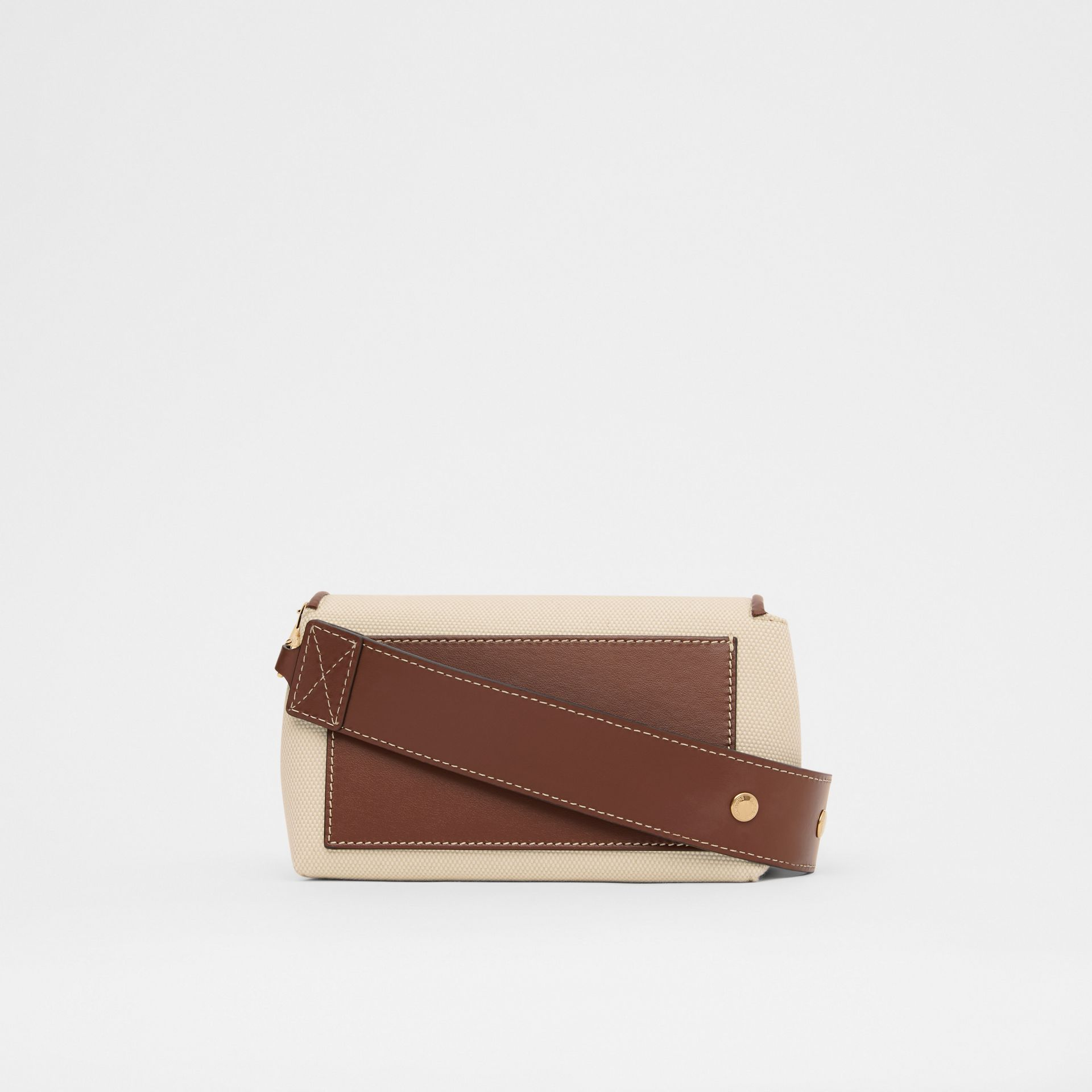Small Horseferry Print Cotton Canvas Crossbody Bag in White/tan | Burberry - gallery image 7