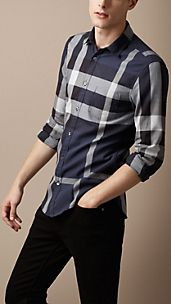 Chemise en Exploded check en coton