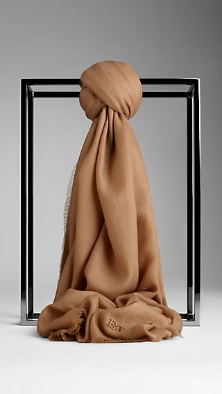 Embroidered Lightweight Cashmere Scarf