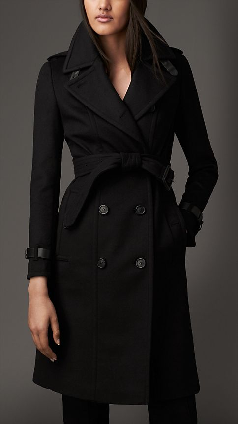 leather trim wool cashmere trench coat burberry. Black Bedroom Furniture Sets. Home Design Ideas