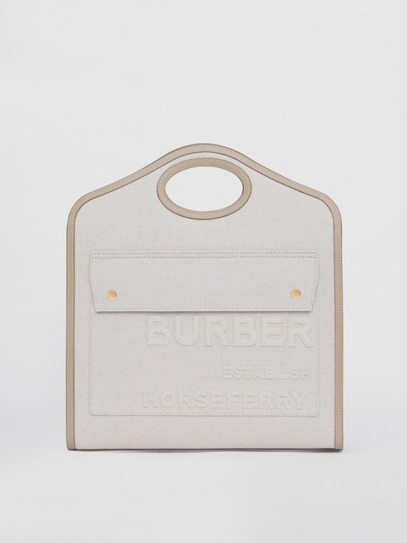 Bolso Pocket mediano en lona de lino y algodón con motivo Horseferry (Crudo)