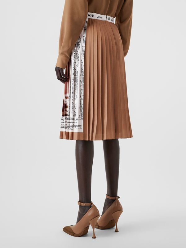Mariner Print Pleated Cady Skirt in Bronze - Women | Burberry - cell image 2