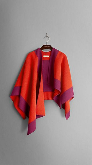 Border Detail Wool Cashmere Poncho