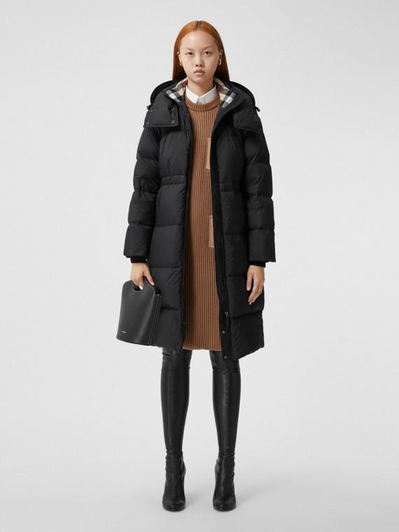 Detachable Hood Nylon Puffer Coat in Black