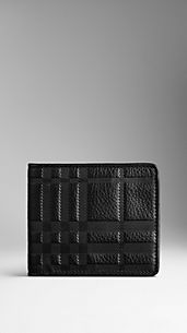 Embossed Check Leather Wallet