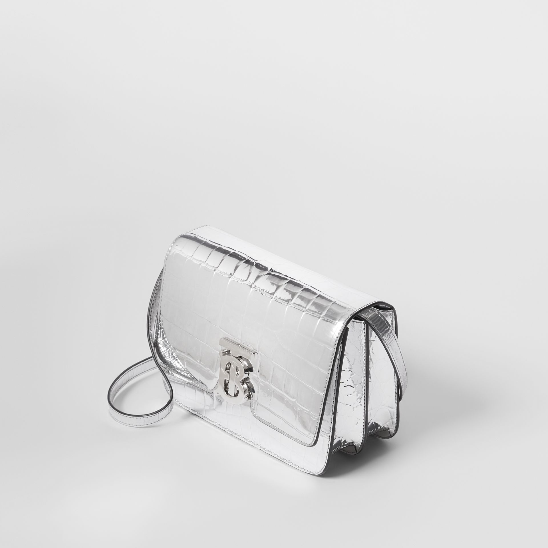 Small Metallic Embossed TB Bag in Silver - Women | Burberry Australia - gallery image 3