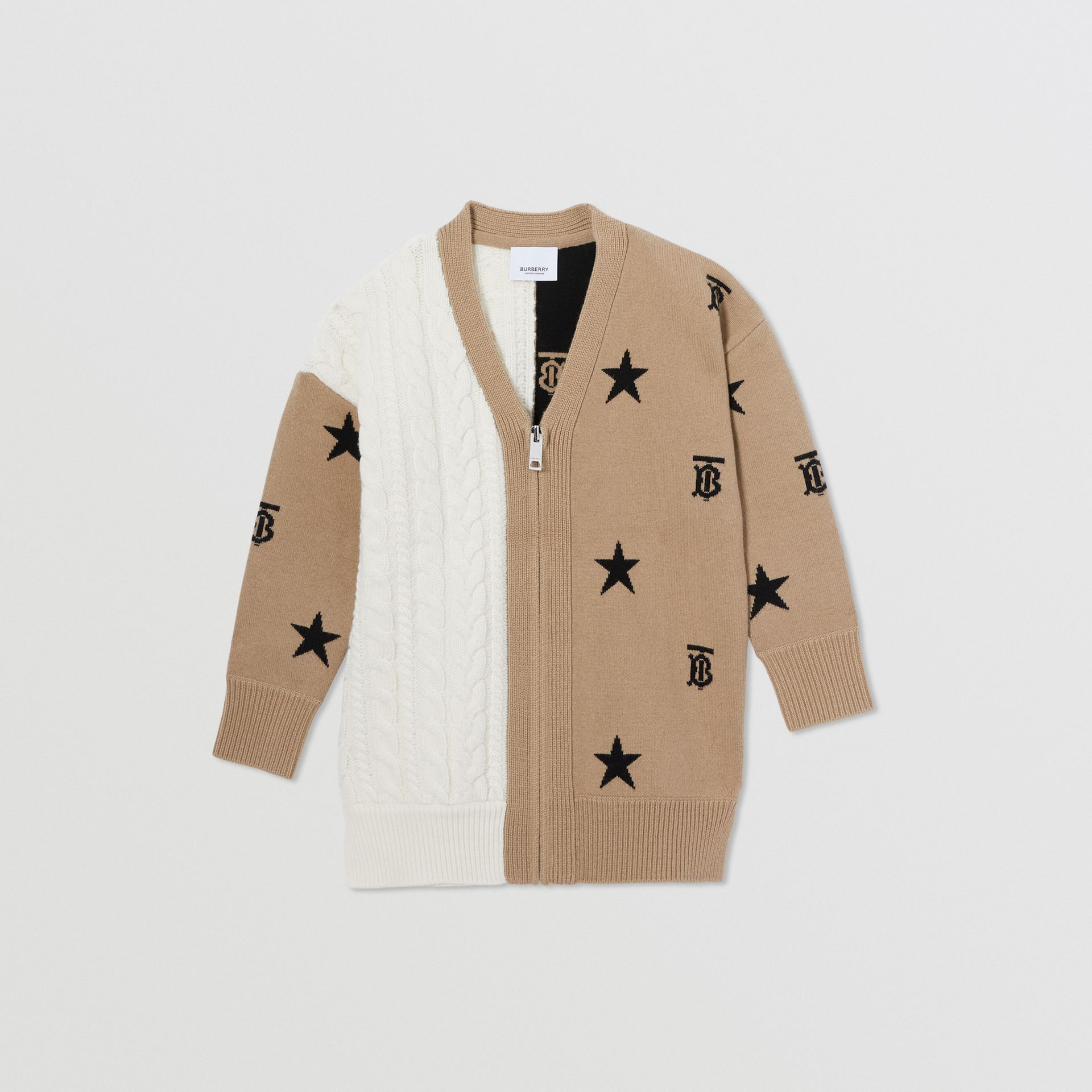 Star and Monogram Motif Wool Cashmere Cardigan in Archive Beige | Burberry - gallery image 0