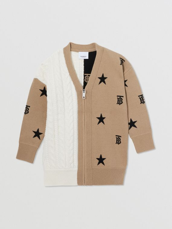 Star and Monogram Motif Wool Cashmere Cardigan in Archive Beige