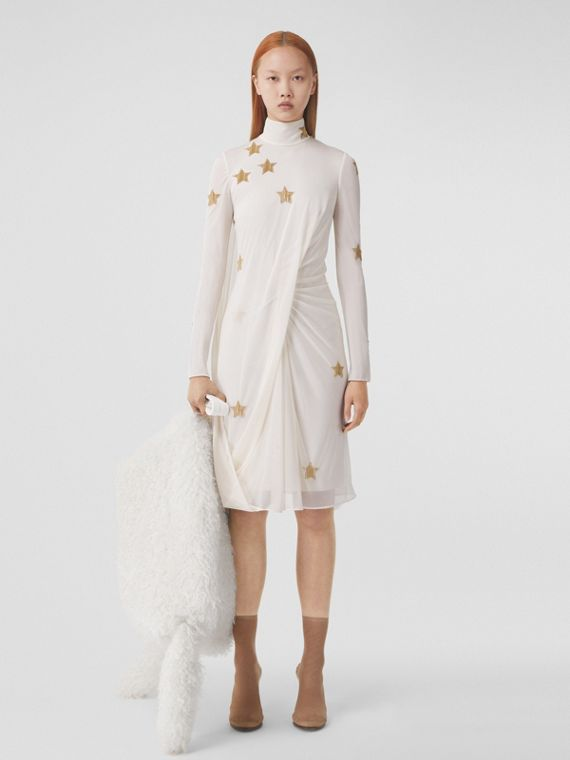 Long-sleeve Star Motif Gathered Silk Viscose Dress in Ivory Blush