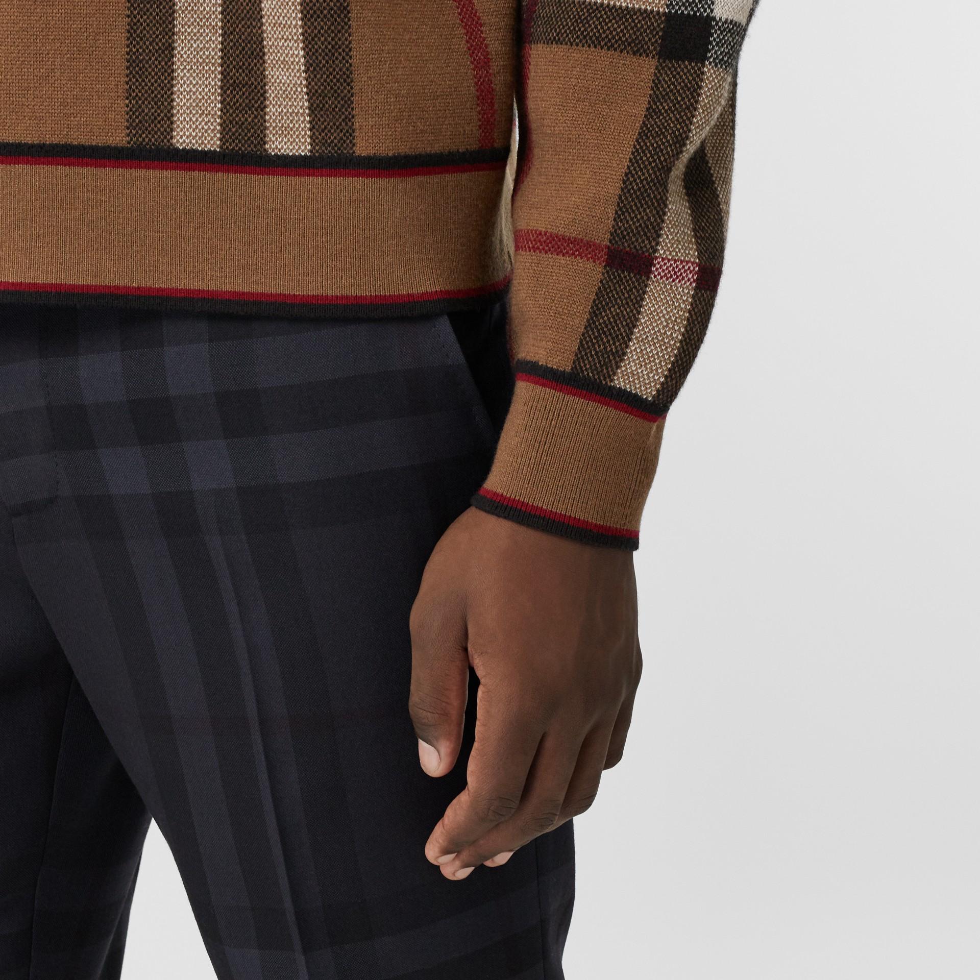 Check Merino Wool Jacquard Sweater in Birch Brown - Men | Burberry - gallery image 4