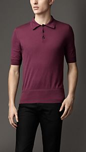Fine Knit Cotton Polo Shirt