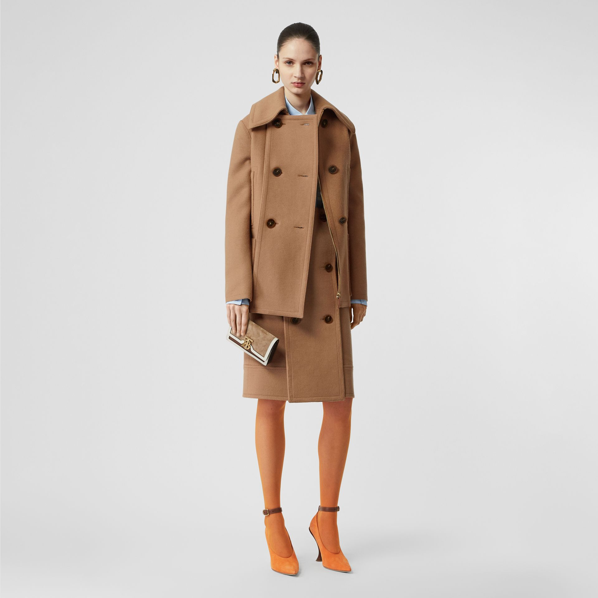 Button Panel Detail Wool Cashmere Pea Coat in Camel - Women | Burberry - gallery image 0