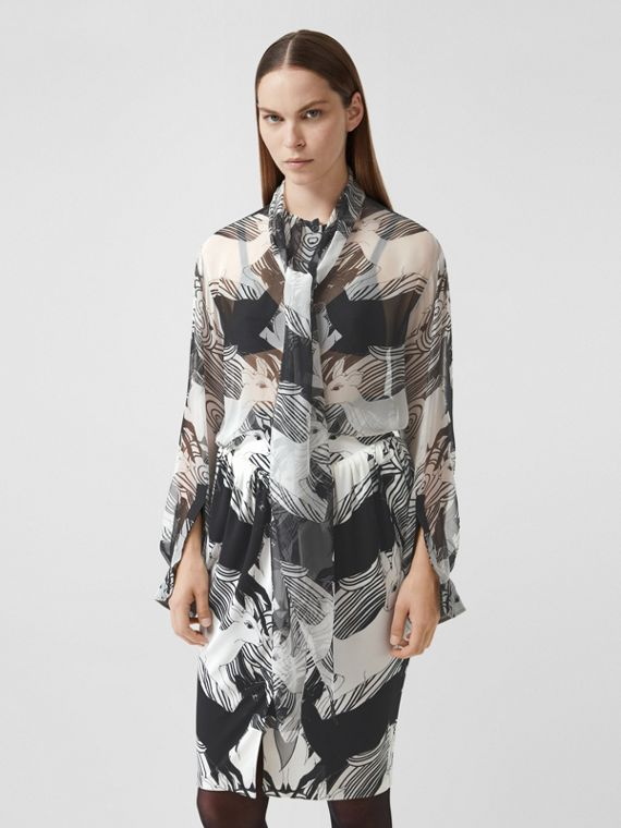 Deer Print Silk Chiffon Pussy-bow Blouse in Monochrome