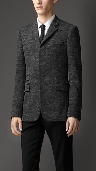 Slim Fit Mélange Wool Blend Jacket