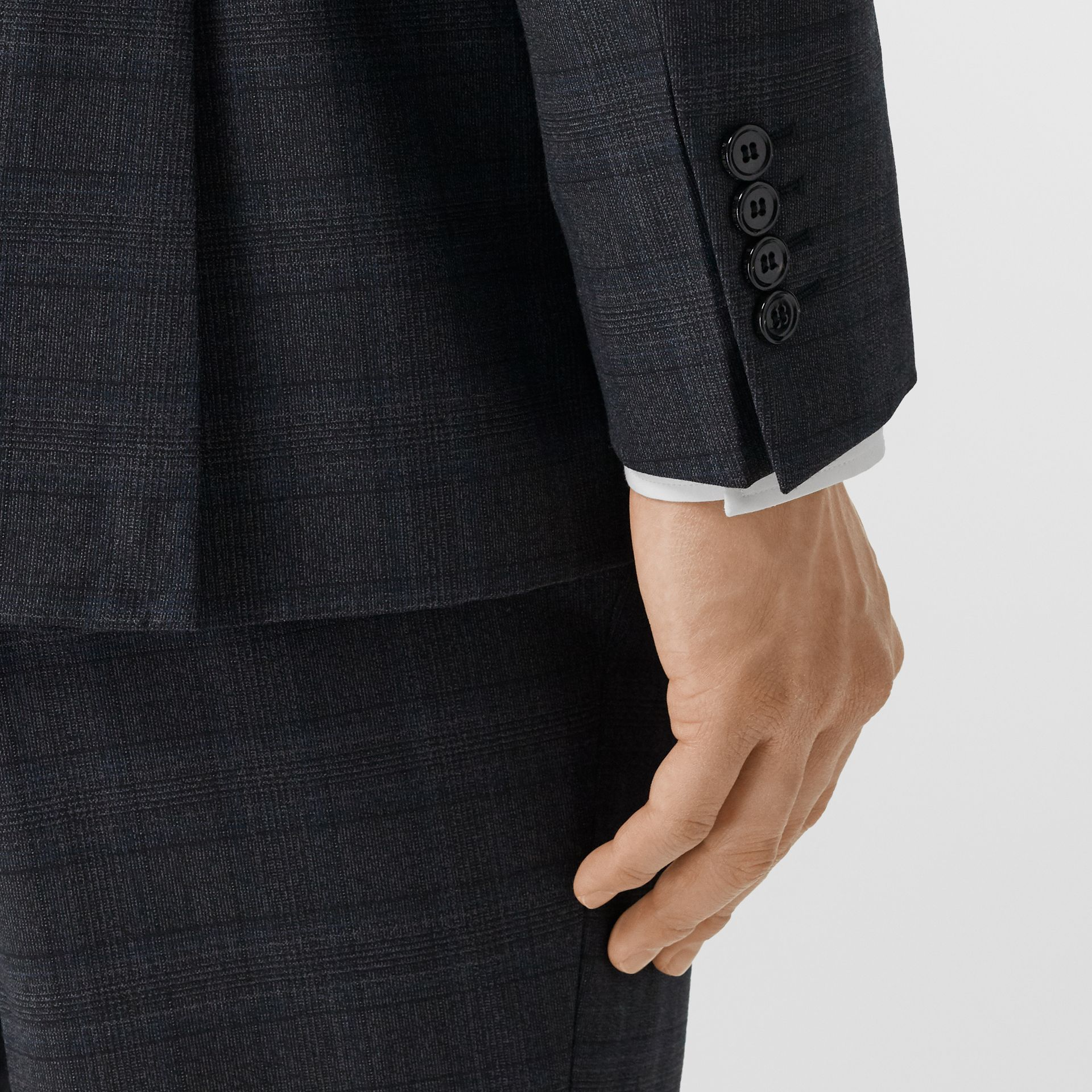 English Fit Check Wool Suit in Steel Blue | Burberry - gallery image 5