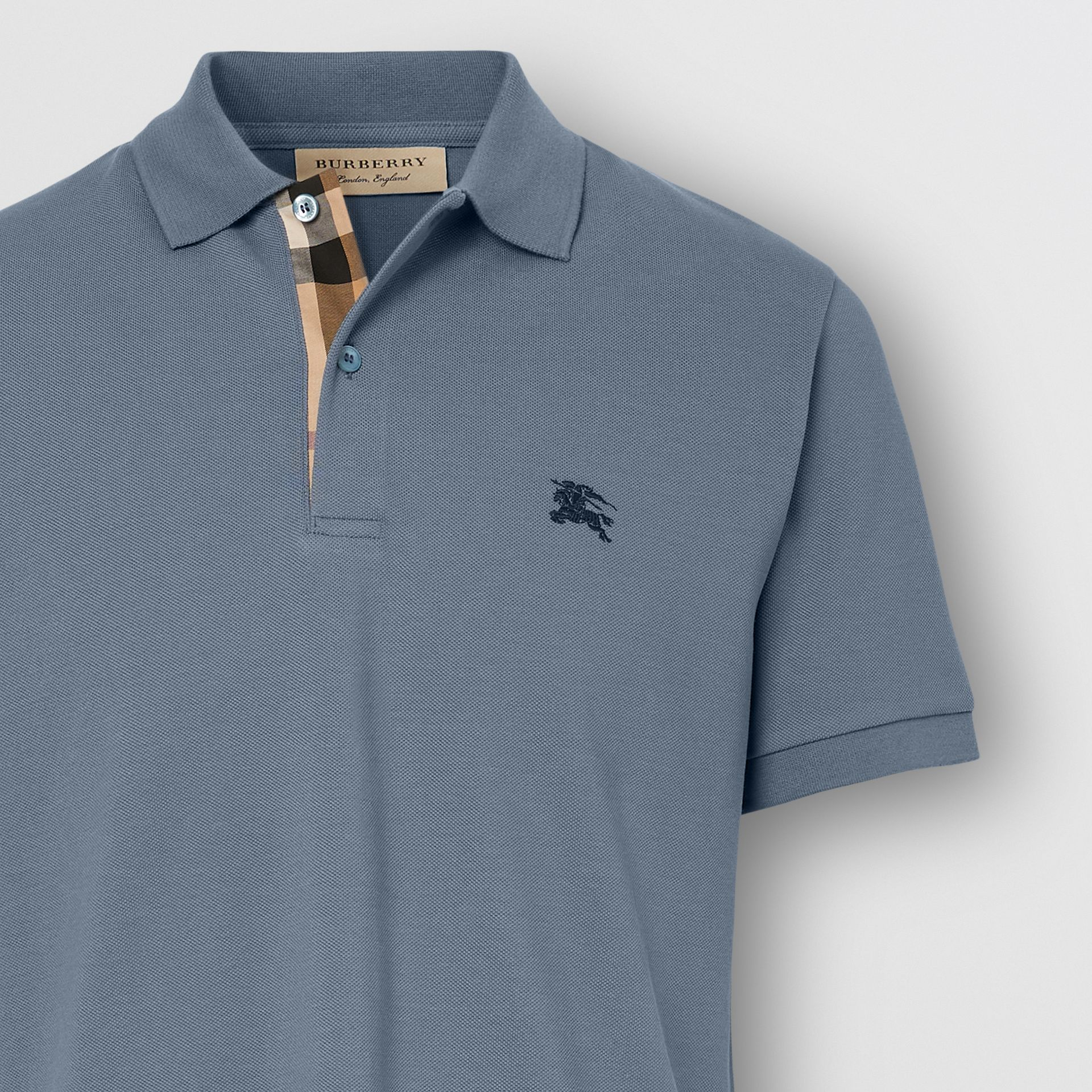 Check Placket Cotton Piqué Polo Shirt in Stone Blue - Men | Burberry - gallery image 1