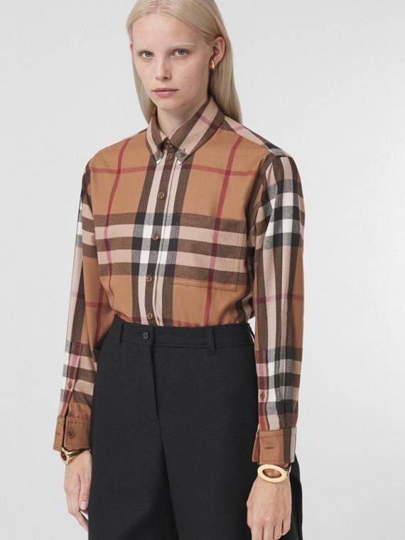 Check Wool Oversized Shirt in Birch Brown