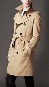 Mid-Length Cotton Gabardine Ostrich Detail Trench Coat