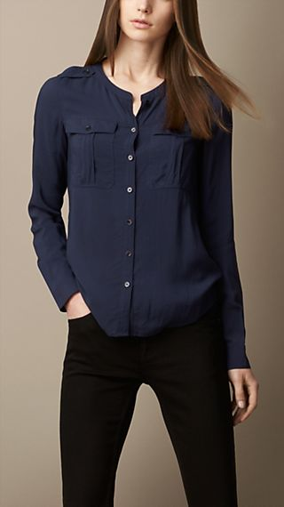 Collarless Voile Shirt