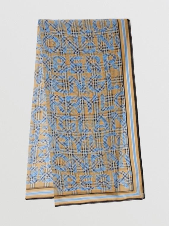 Vintage Check Logo Print Silk Chiffon Scarf in Vivid Cobalt
