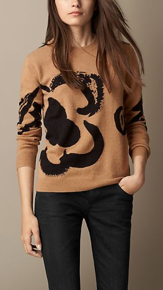 Flower Intarsia Wool Cashmere Sweater