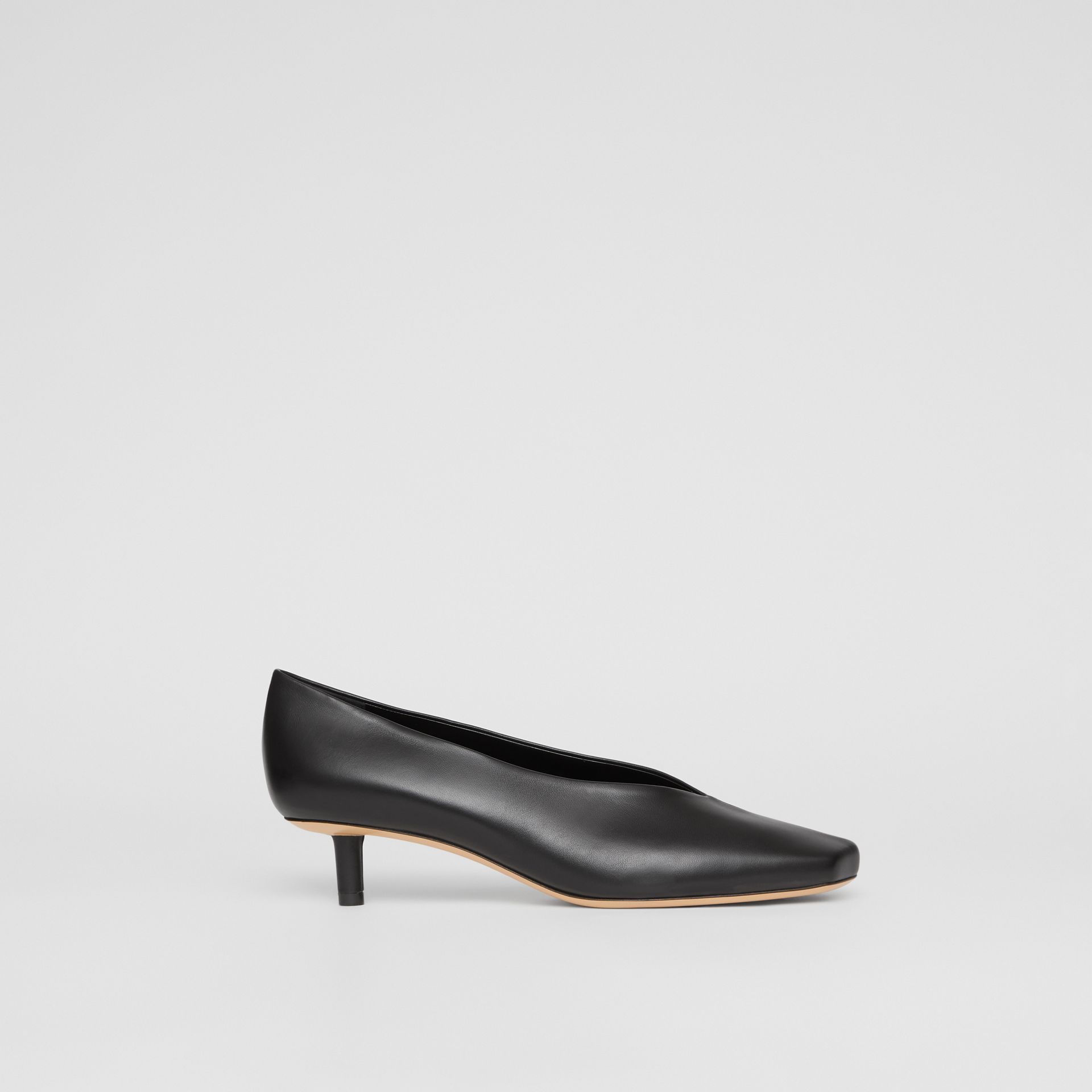 Lambskin Sculptural Kitten-heel Pumps in Black - Women | Burberry - gallery image 5